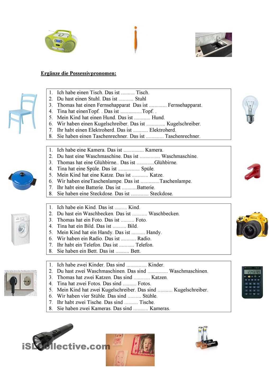 possessivpronomen haushalt deutsch lernen deutsch bungen deutsch lernen und deutsch. Black Bedroom Furniture Sets. Home Design Ideas