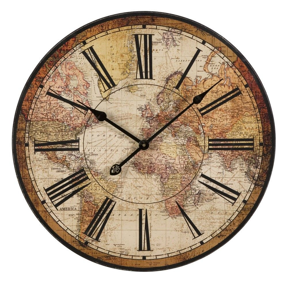 World Map Clocks For Sale. Tumblr Wall Clocks  Buy IMAX Worldwide Old World Atlas Clock on sale online