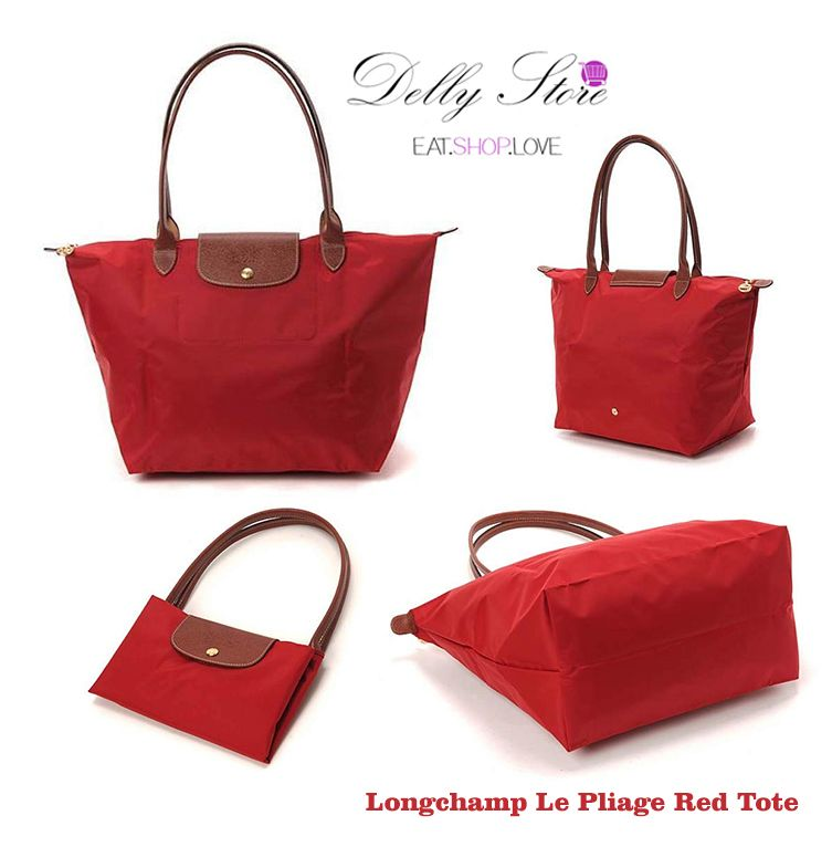 38c10a76117f 89.49   Longchamp Le Pliage Red Tote. This ultra lightweight nylon canvas  model with slender
