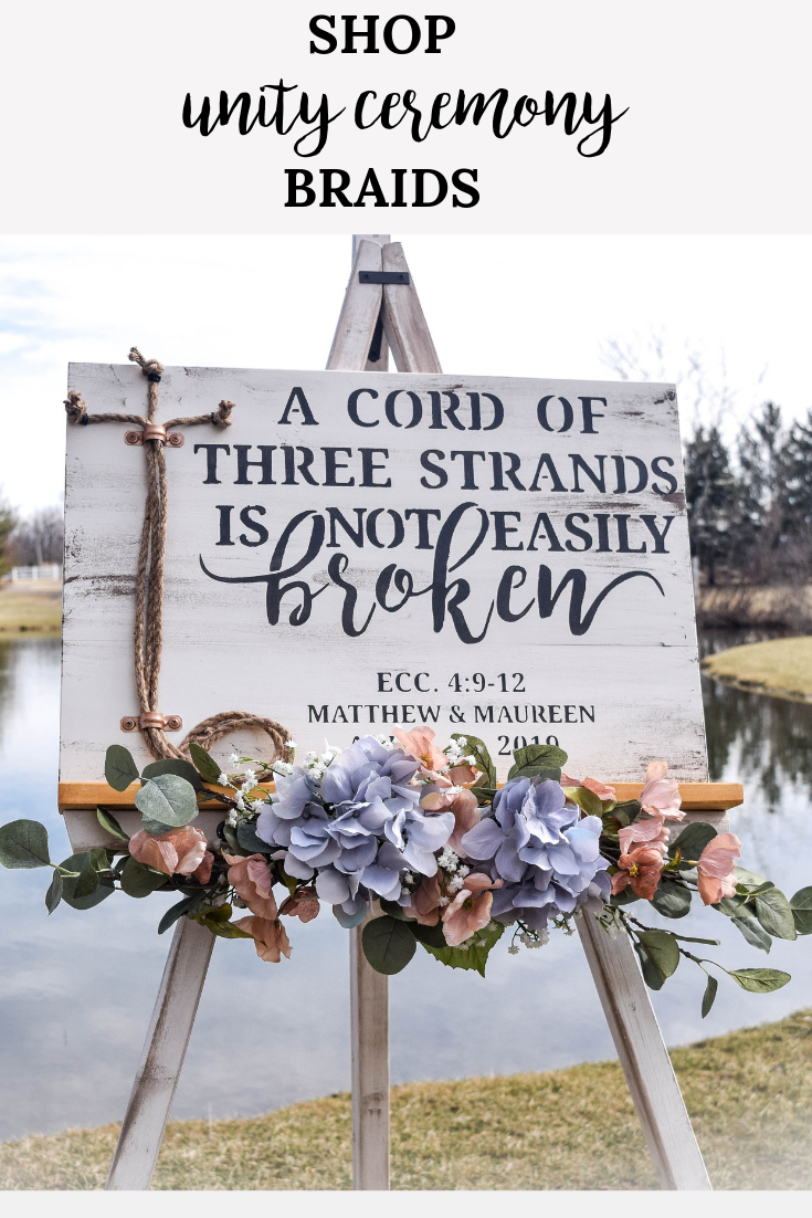 A Cord Of Three Strands is Not Easily Broken White Unity Ceremony Sign for Wedding