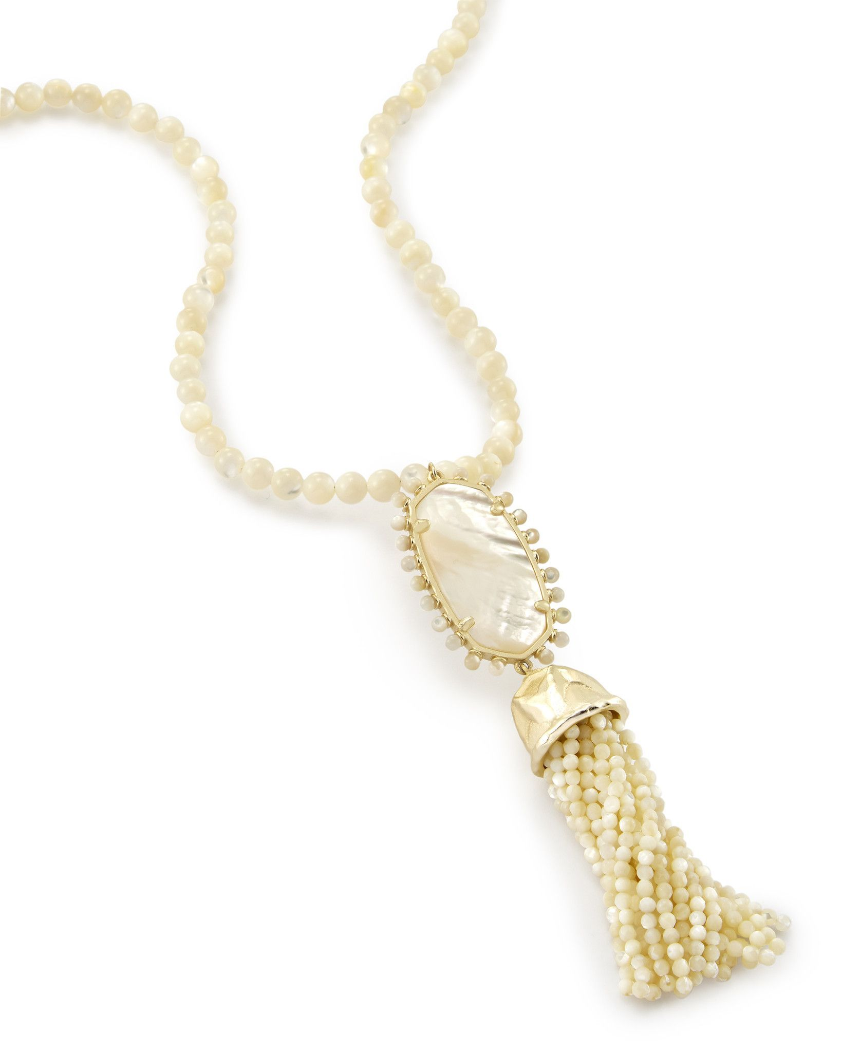 Tatiana Long Pendant Necklace In Ivory Pearl