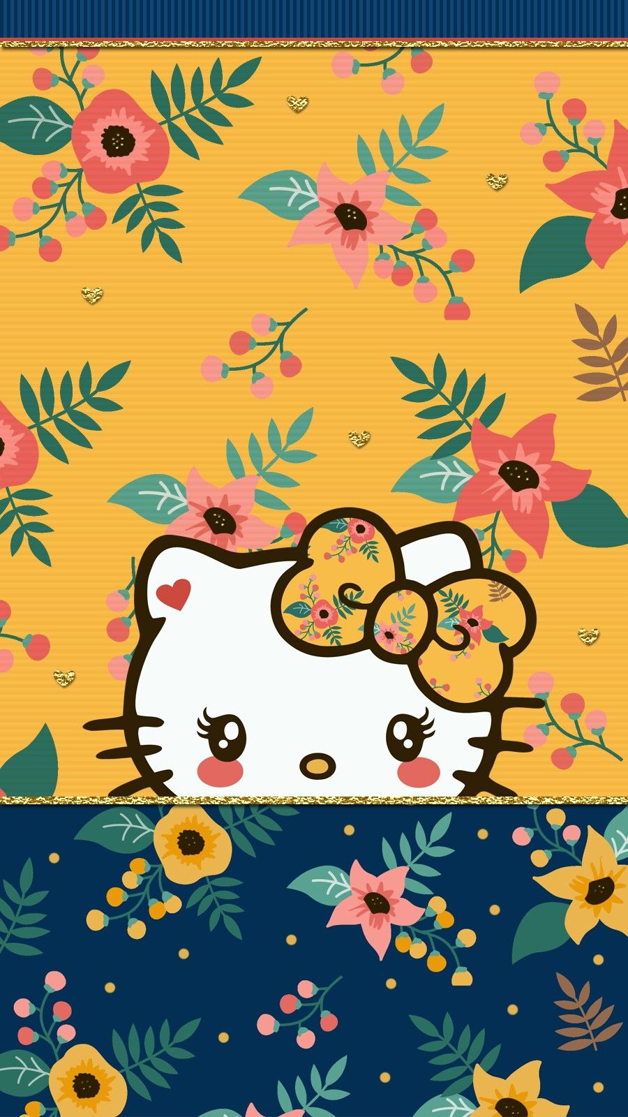 Navy Blue Floral Wallpaper Iphone Hello Kitty Wallpaper Kitty