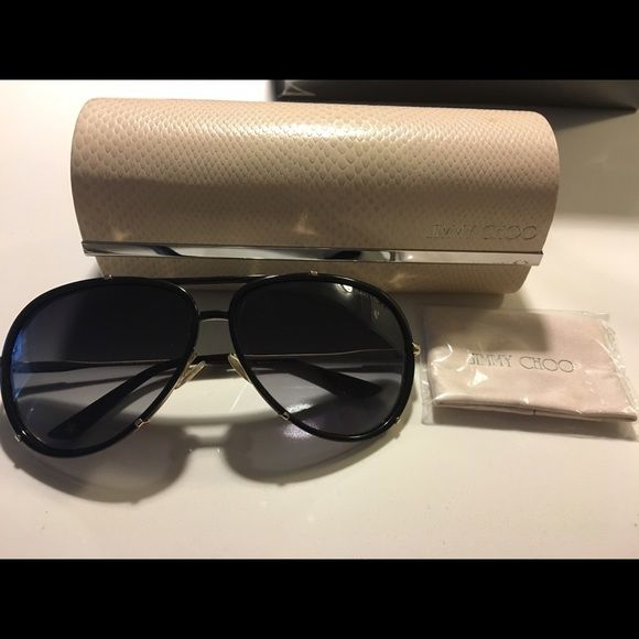 bcab1f4f437c Jimmy Choo Terrence Black Sunglasses Aviator style, black plastic. Like new  condition. Black with gold details. Fits many different face shapes.