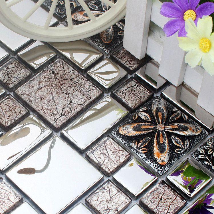 GroB Günstige Silber Harz Edelstahl Glasmosaik Fliesen HMGM1080B Für Backsplash  Küche Wand Boden Mosaikfliesen Kostenloser Versand,