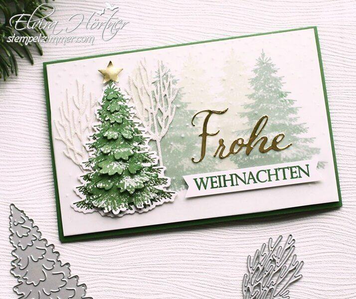 Weihnachtskarten Winterwald und Floating Letters ⋆ Elviras Stempelzimmer