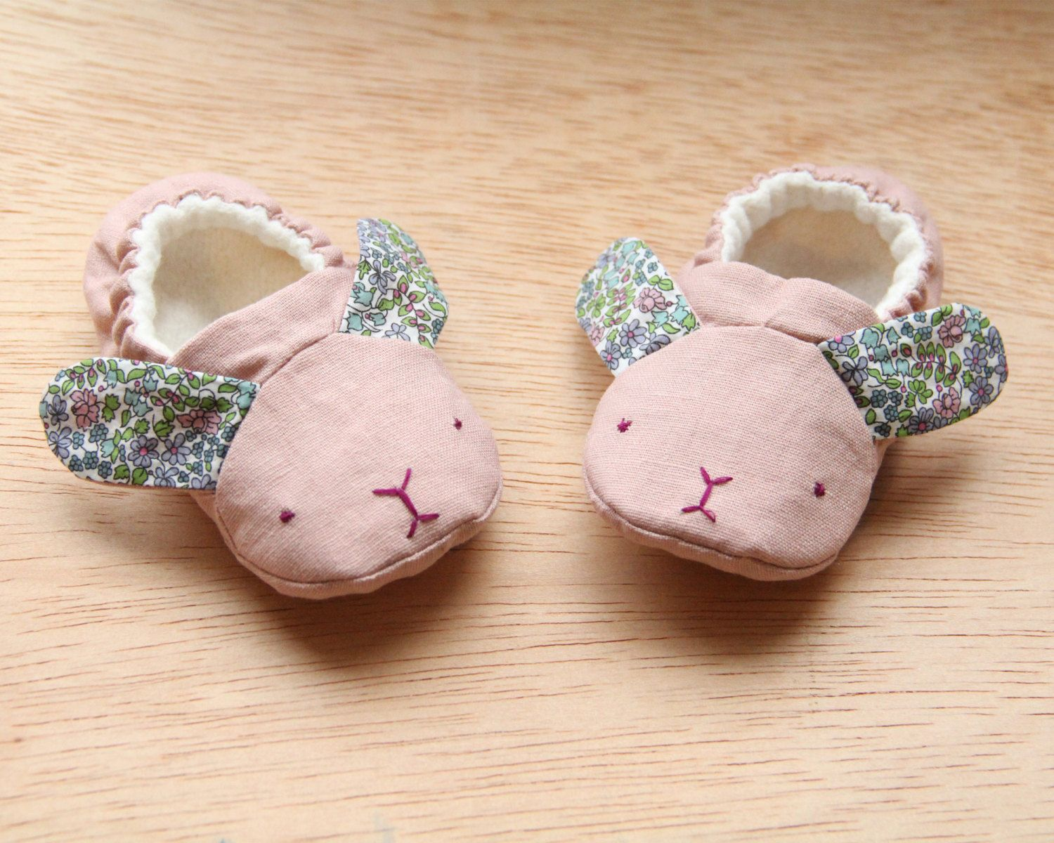 Handmade baby soft sole shoe. Baby moccasins. Baby slippers. New baby gift. Bunny shoes. Stocking filler. Crib shoes. Baby booties. by BloomingKiwi on Etsy