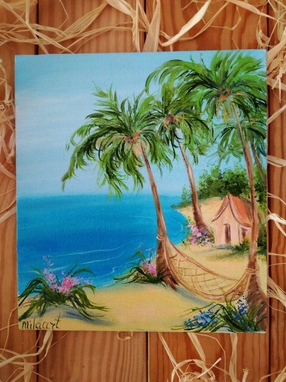 Beach Palms Landscape Tropical Miniature Impasto Oil Painting Canvas Ocean Artwork Sea Beach Art Haw Beach Art Painting