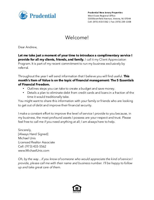 Letter Real Estate Introduction Sales Agent Thank You Letters Free