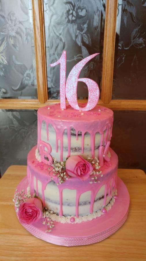 Groovy Pretty In Pink Sweet 16 By Enza Sweet E Sweet 16 Birthday Cake Personalised Birthday Cards Veneteletsinfo