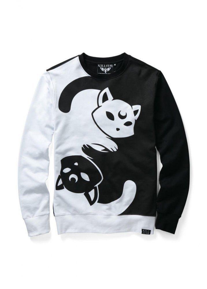 99fd5dc2fb4 Killstar Yin Yang Gothic Occult Cats Unisex Crewneck Sweatshirt Black