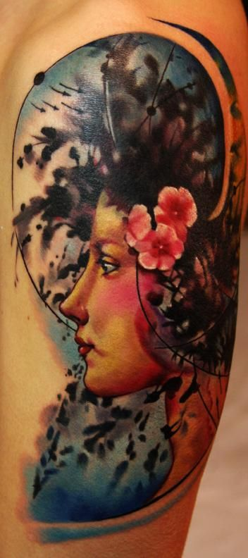 beautiful womans face tattoo