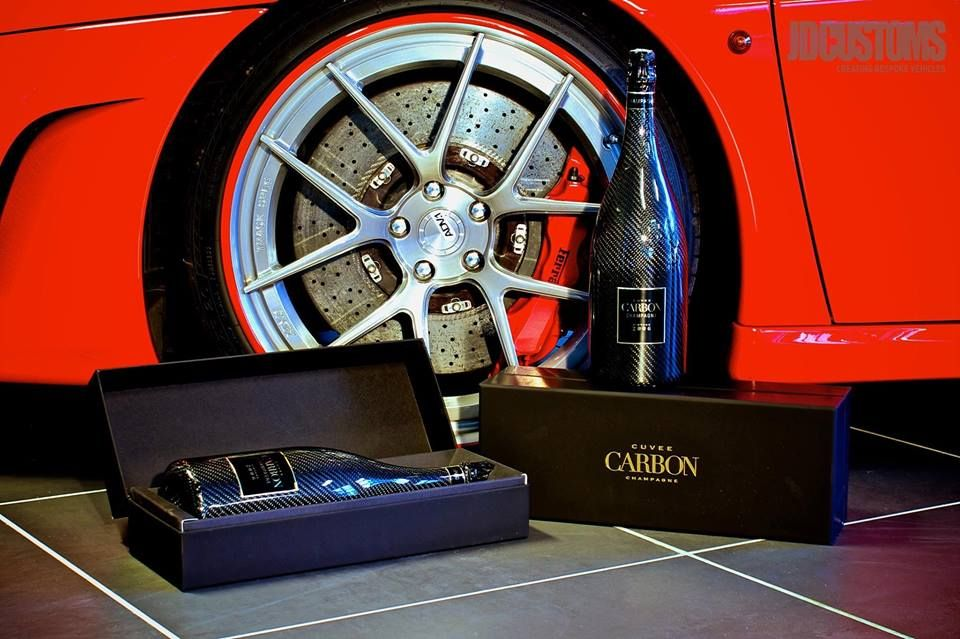 Ferrari - Champagne and cuvee carbon fiber bottles with carbon