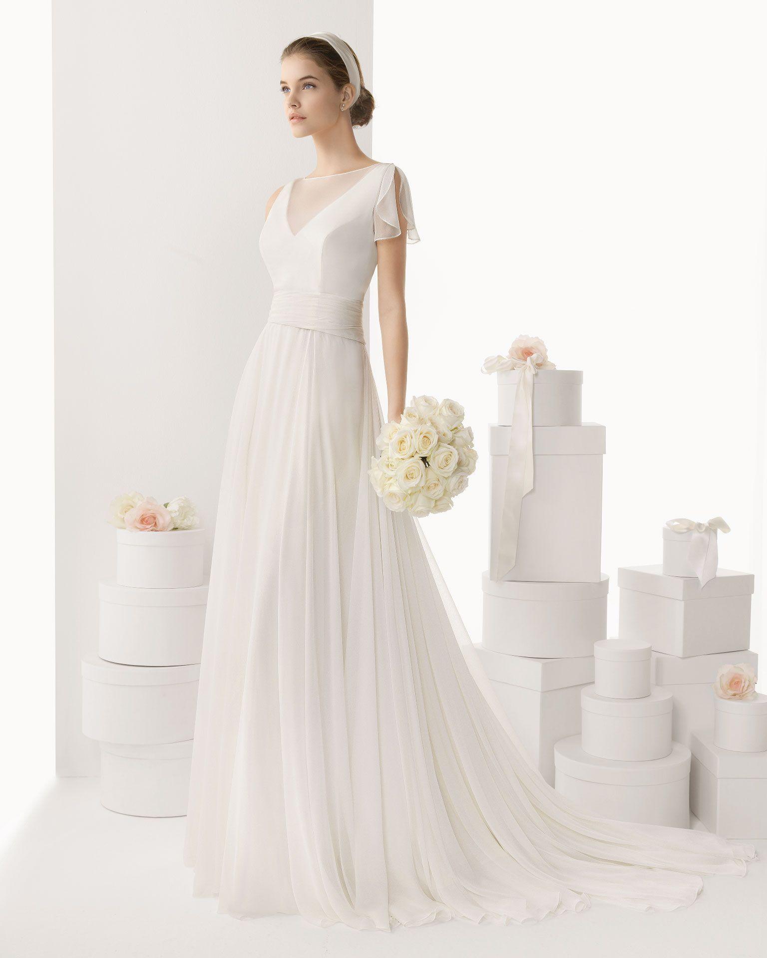 CANCUN - Vestido en gasa de seda, en color naturalT26 Diadema de gasa de seda, en color natural
