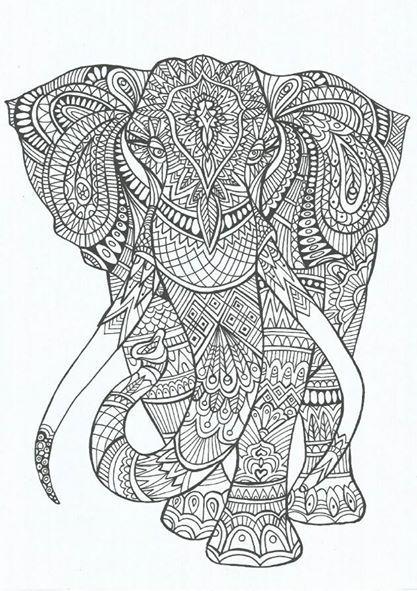 Coloriage Anti Stress Grand Format.Elephant Coloriage Anti Stress Art What Not Adult Coloring