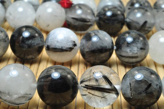 27 pcs of Natural Black Rutilated Quartz smooth round beads in 14mm