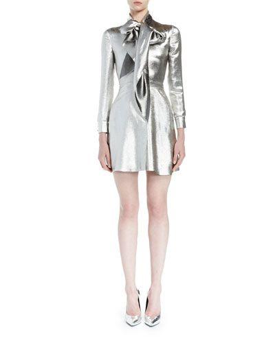 Saint Laurent Silk Lam; Tie-Neck Mini Dress, Silver