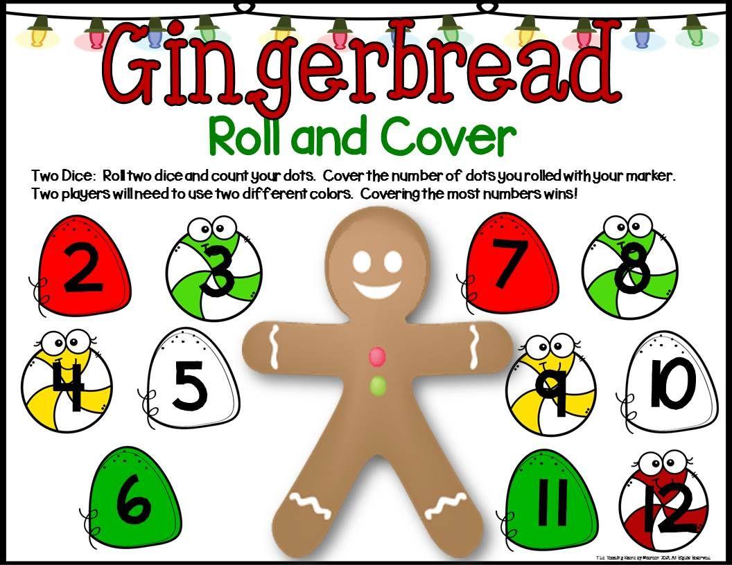 Gingerbread Math Center Dice Games