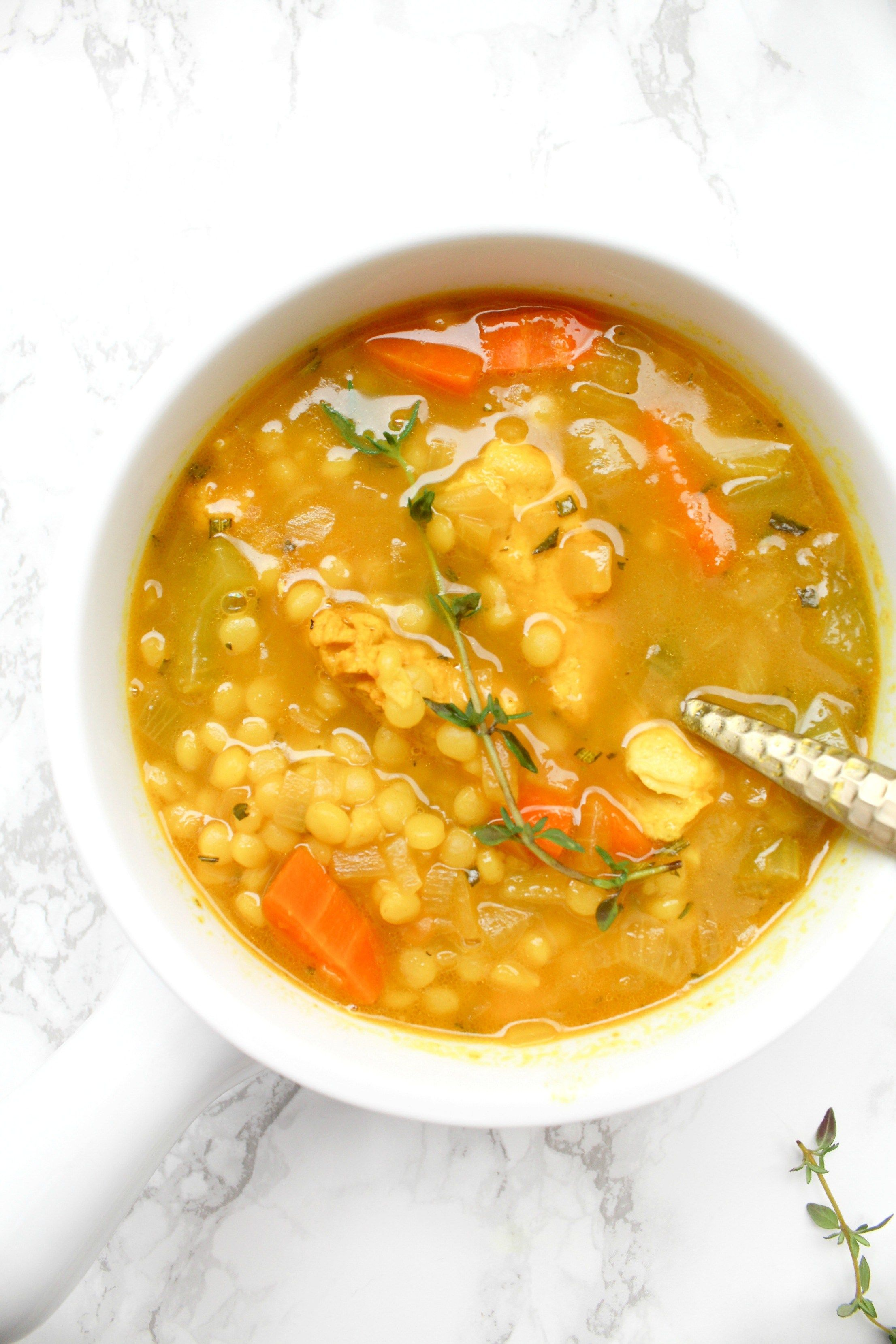 Vegan Chicken Couscous Soup This Savory Vegan Recipe Vegan Dinner Plan Savory Vegan Chicken Couscous