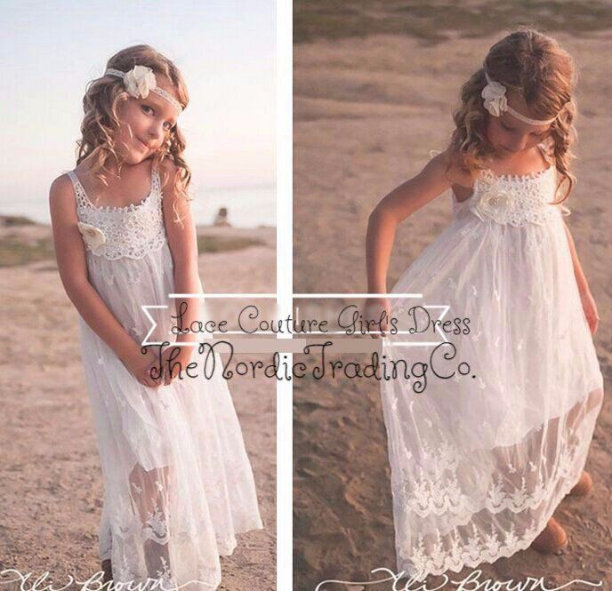 e88e8edff091 Girl s White Beach Style Lace Dress sz 2T - 10 Little Girls Toddler ...