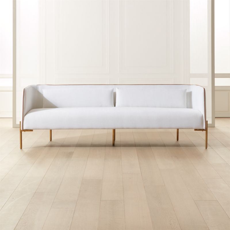 Best Colette White Sofa With Faux Leather Piping In 2020 400 x 300