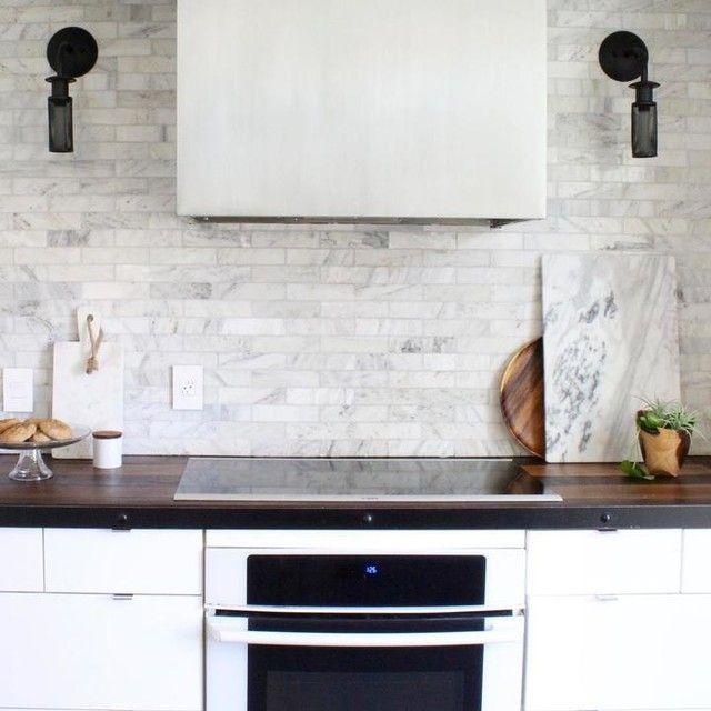 Kitchen Backsplashes Hampton Carrara Polished Marble Subway Tile 2 X 8 In