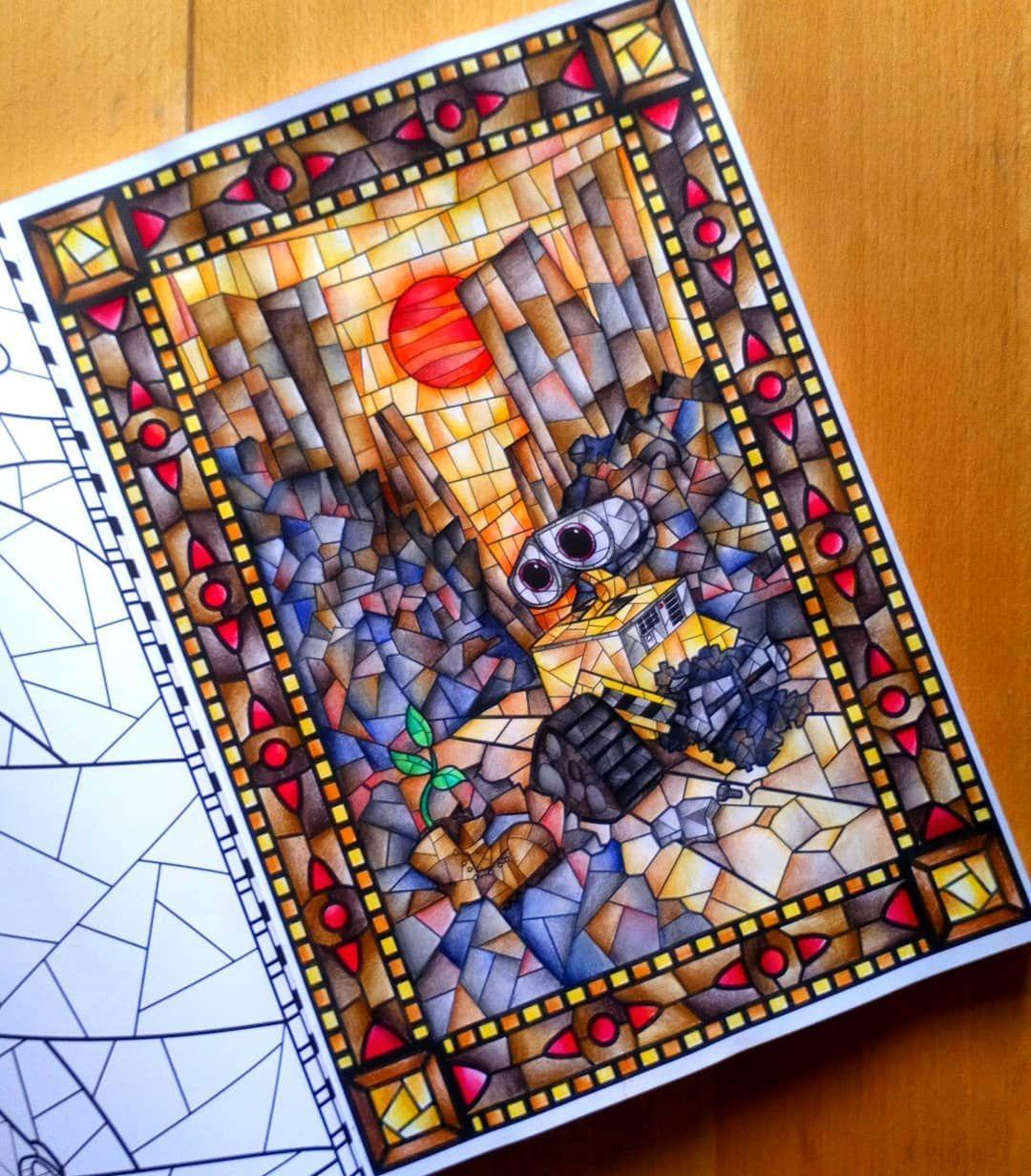 Wall-e 🤖 🌿 ❤️ 📖 Hachette Disney Vitraux ✏️ Crayons de