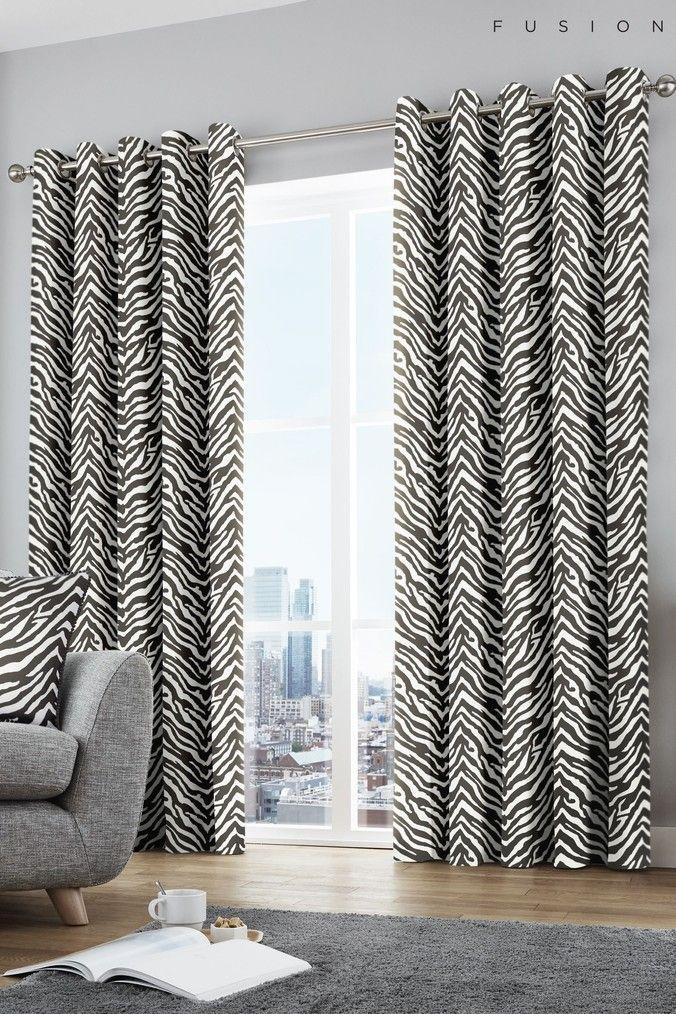 Fusion Zebra Eyelet Curtains Black