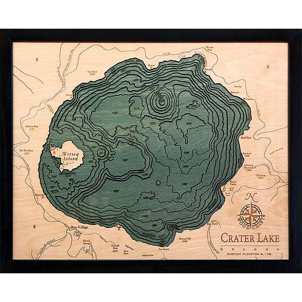 Thos. Baker Crater Lake (16w 20h) (1 510 SEK) ❤ liked on Polyvore featuring home, home decor, wall art, lake home decor, framed wall art and lake wall art