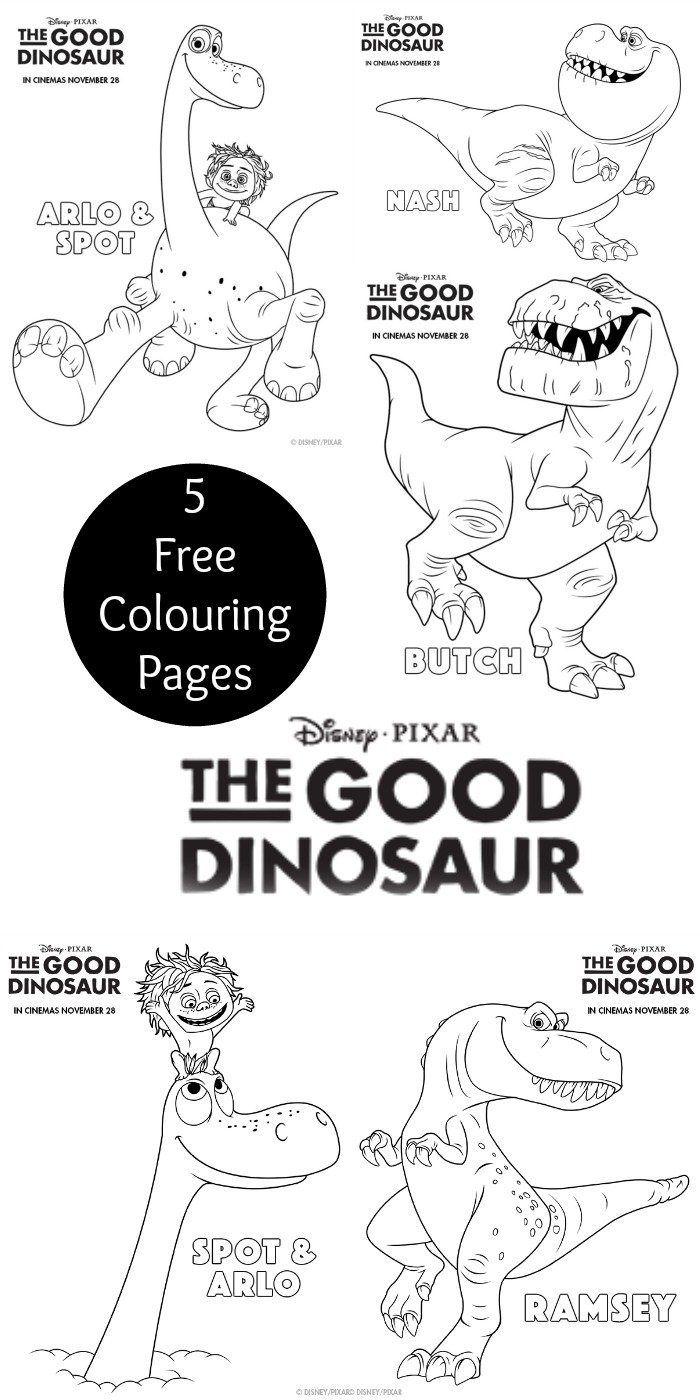 The good dinosaur colouring pages disney pixar free printables