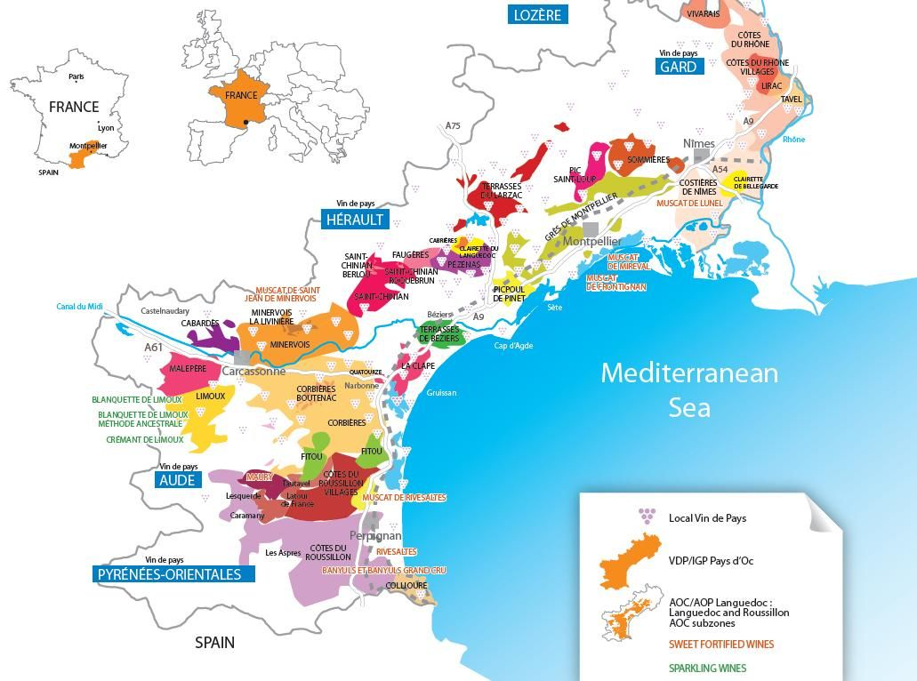 Map of the vineyards of the Languedoc Roussillon region of the