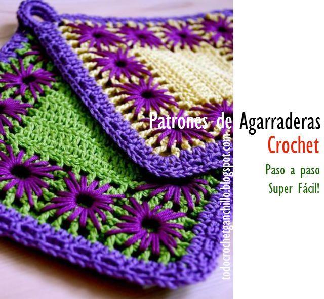 Todo crochet | 5. elbezi - tutacak | Pinterest | Agarraderas, Patrón ...