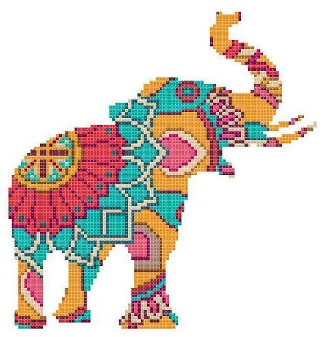 Photo of Cross Stitch Pattern Modern Mandala Elephant Animal Sampler Indian PDF Cross Stitch Instant Dow …