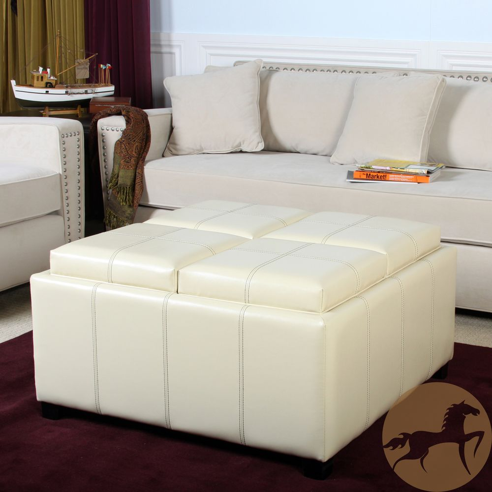 Christopher Knight Home Dartmouth Four Sectioned Cream Bonded Leather Cube Storage  Ottoman | Overstock.com