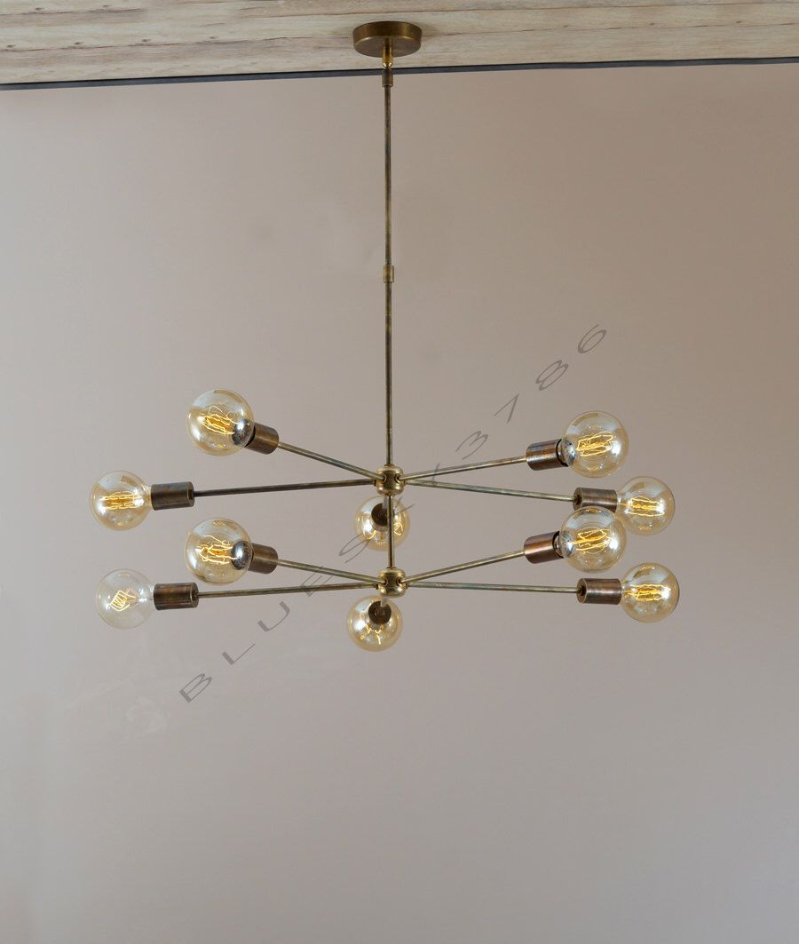 Mid century 10 arms modern brass chandelier brass patina edison antique brass chandelier arubaitofo Choice Image