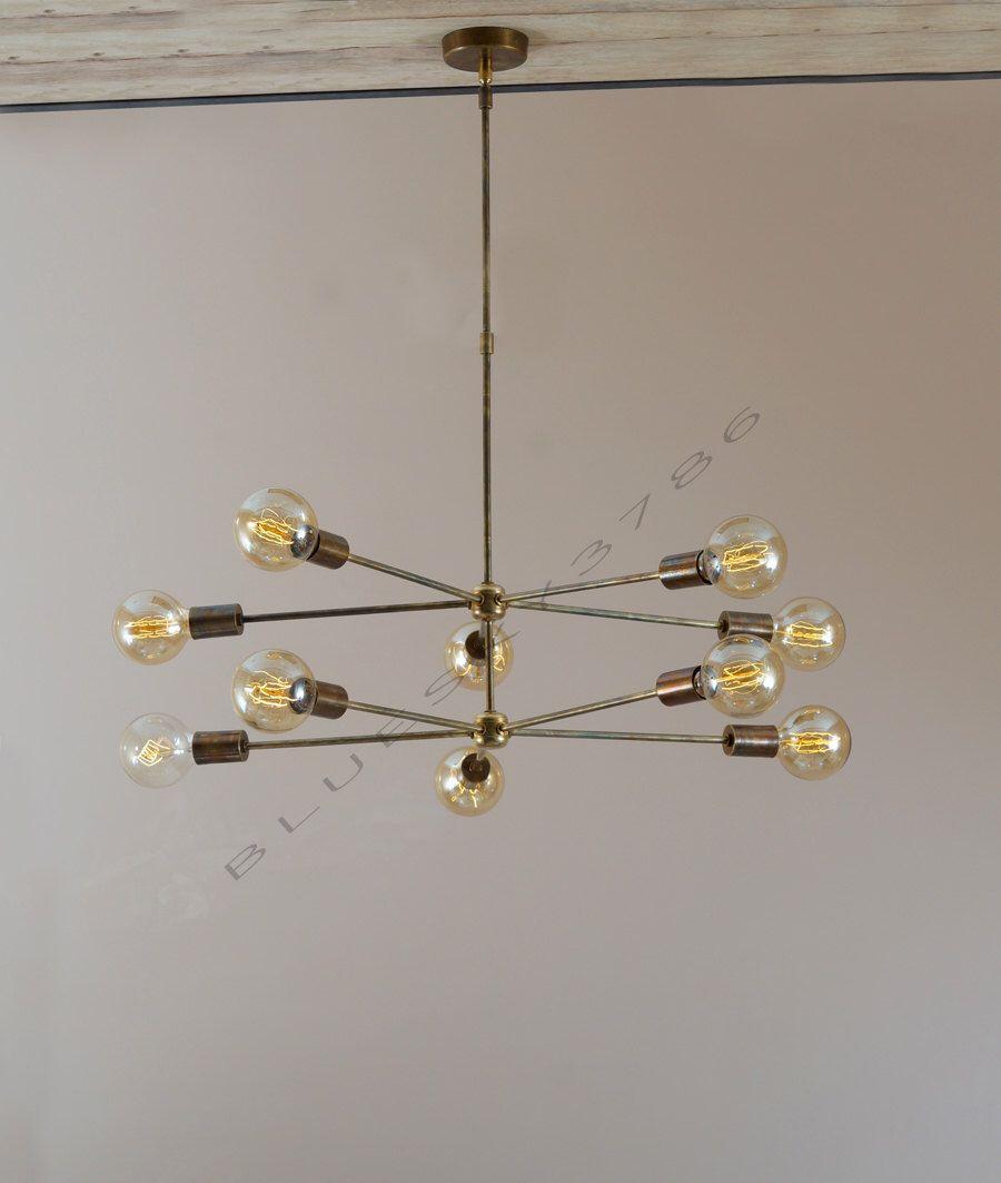 mid century 10 arms modern brass chandelier // brass patina edison light  bulb brass chandelier - Mid Century 10 Arms Modern Brass Chandelier // Brass Patina Edison