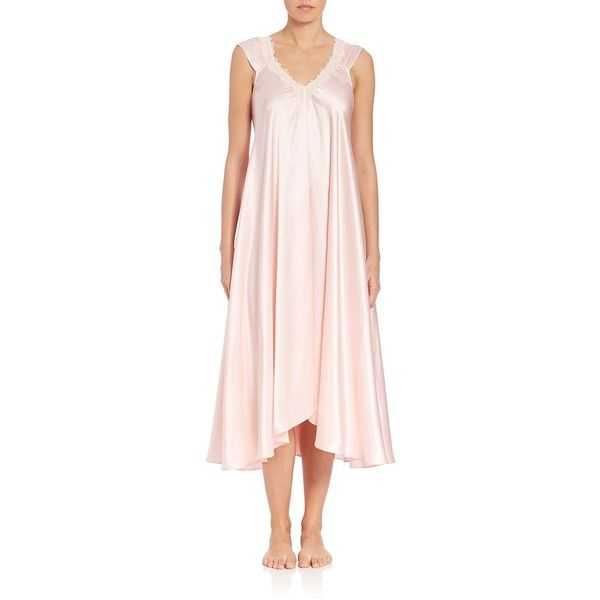 32d0929c3 Oscar de la Renta Sleepwear Satin Charmeuse Nightgown ( 165) ❤ liked on  Polyvore featuring