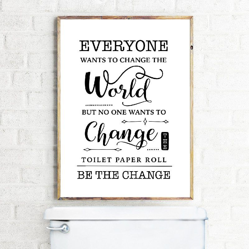 Bathroom Quotes Funny Restroom Wall Art Toilet Humour Prints Yellow /& White