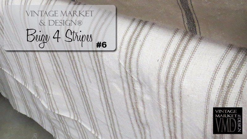 French Farmhouse Fabric (12 styles!) Cream, Beige 4 Stripes #6, Fabric and Textiles - Vintage Market And Design, Vintage Market And Design  - 8