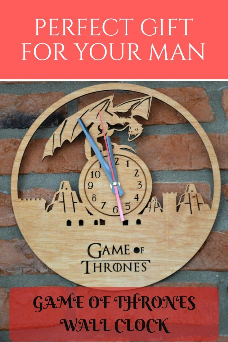 Etsy game of thrones wall art wooden clock round hanging home decor