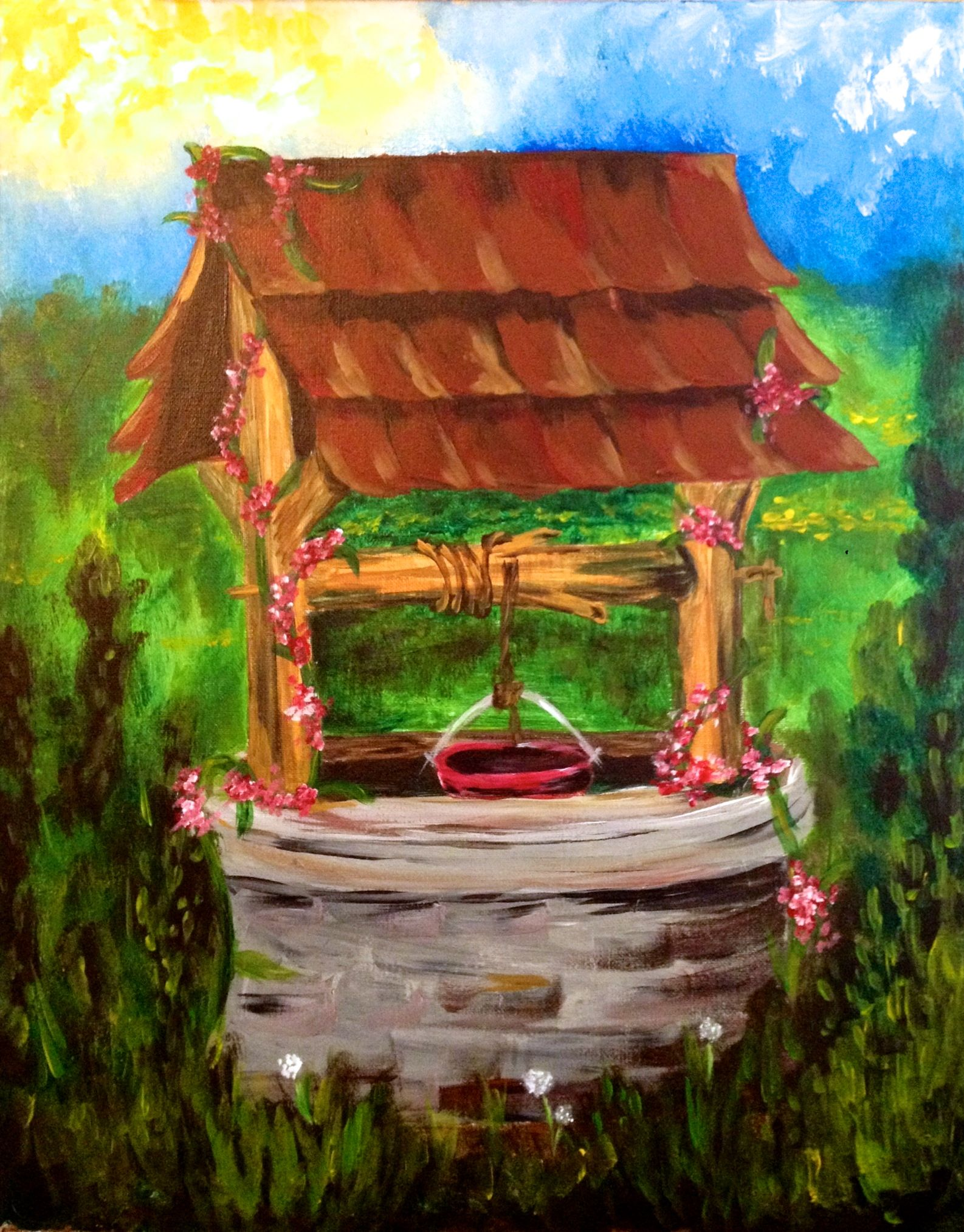 Acrylic Canvas Missy's Wishing Well Source Painting