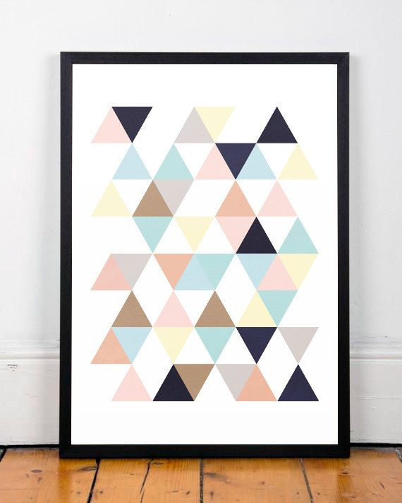Peinture Triangle Chambre Triangles Print, Scandinavian Print, Abstract Art, Office
