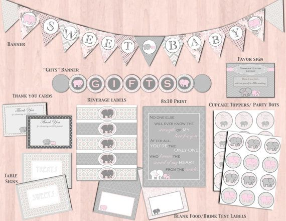 Gray U0026 Pink Elephant Baby Shower Decorations And Banner: DIY Printable  Package Baby Girl