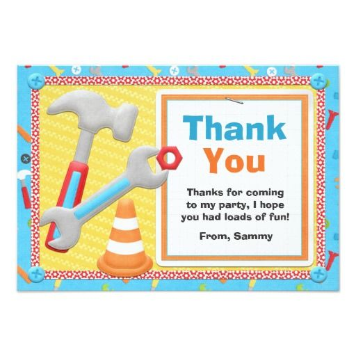 Construction Tools Birthday Thank You Card Announcements