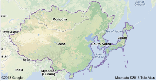 A map of East Asia And Places such as Mongolia China South Korea