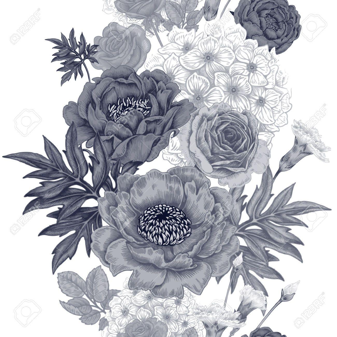 Patrón Sin Fisuras. Ilustración De Las Flores Del Jardín De Rosas ...