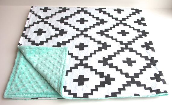 Mint black white southwest diamond minky baby blanket | gender neutral | by WilderAndBean