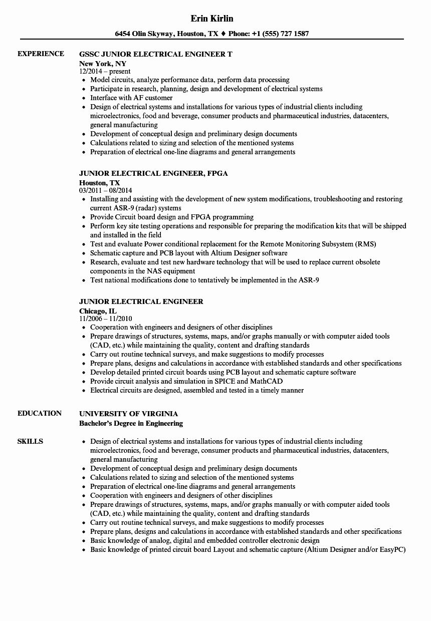 Electrical Engineer Resume Sample Inspirational Junior