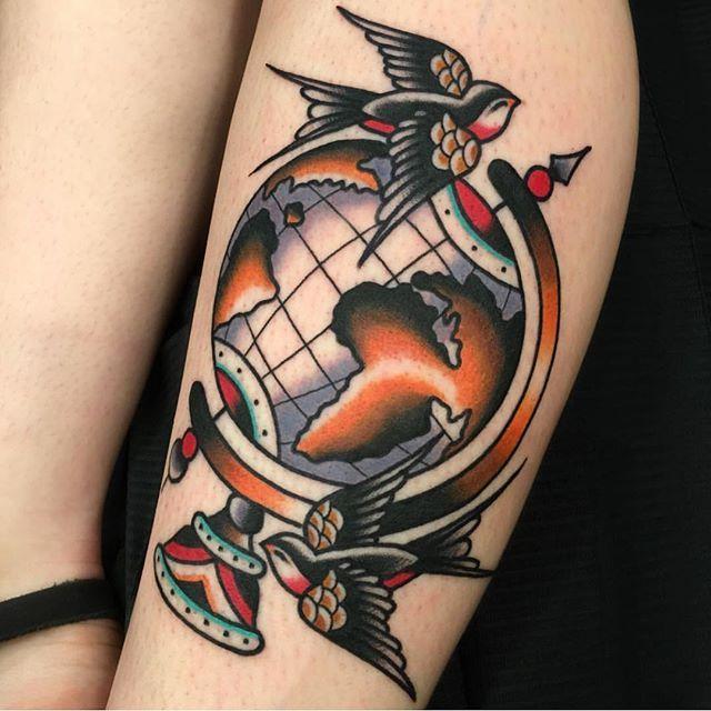 "Bold Will Hold Firenze on Instagram: ""Globe by @cionka_tattoo • • •  #boldwillholdfirenze #tattooshop #florence #boldwillhold #traditionaltattoo #tradworkers #respecttradition…"""