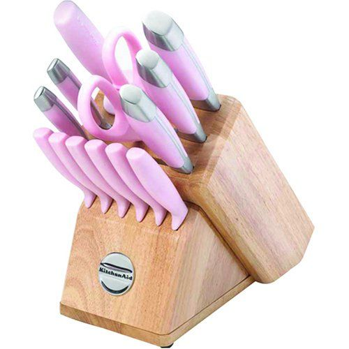 KitchenAid Pink 14 piece Knife Cutlery set in Wood Block ...
