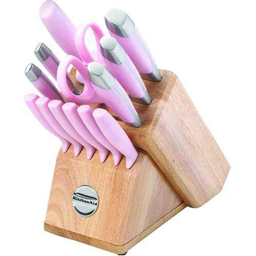 Kitchenaid Pink 14 Piece Knife Cutlery Set In Wood Block Own This One Kitchenaid Pink Pink Kitchen Knife Set Kitchen